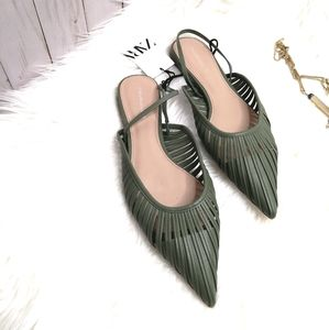 Zara woman Strappy green sandals pointed toe 9 /40